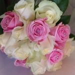 Pink and Ivory Roses Hand Tied