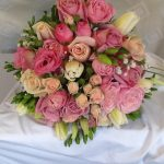 Hand Tied of Roses, Tulips and Lizzianthus